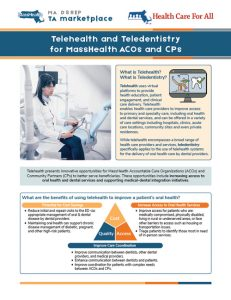 Telehealth and Teledentistry for MassHealth ACOs and CPs